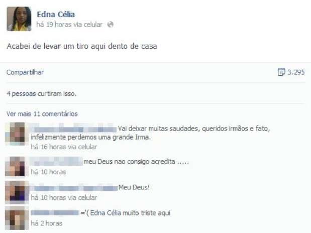 Postagem gerou preocupação entre familiares e amigos de Edna; minutos depois, sua morte foi confirmada Foto: Facebook / Reprodução