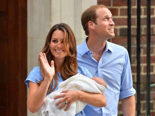Primeira aparição do bebê real Foto: AFP