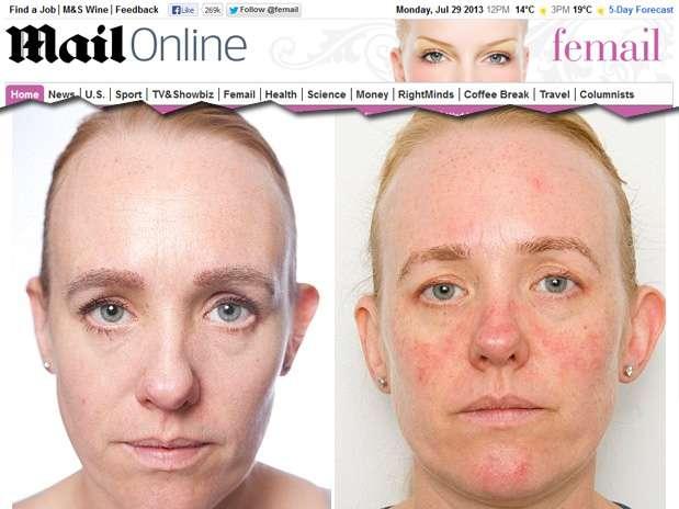 Repórter fica um mês sem tirar a maquiagem e percebe efeitos negativos na pele Foto: Reprodução