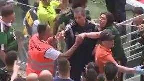 Mulher se desespera em briga antes de Palmeiras x Santos