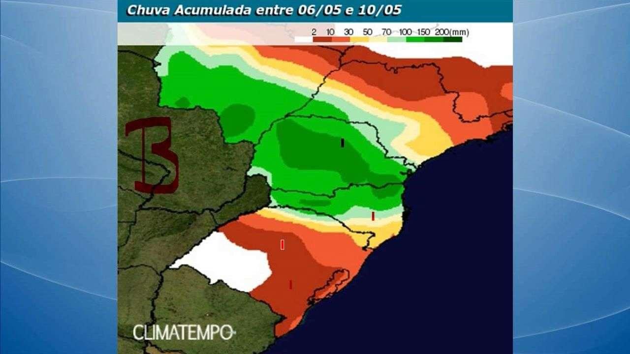 Previsão de temporais para o Sul do BR