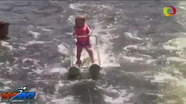 Bebê de 6 meses percorre 210 metros de esqui aquático e bate recorde nos EUA
