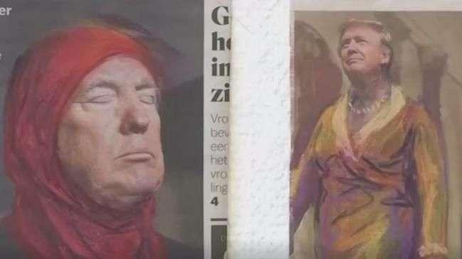 Trump e Wilders aparecem com véus em exposição em Amsterdã