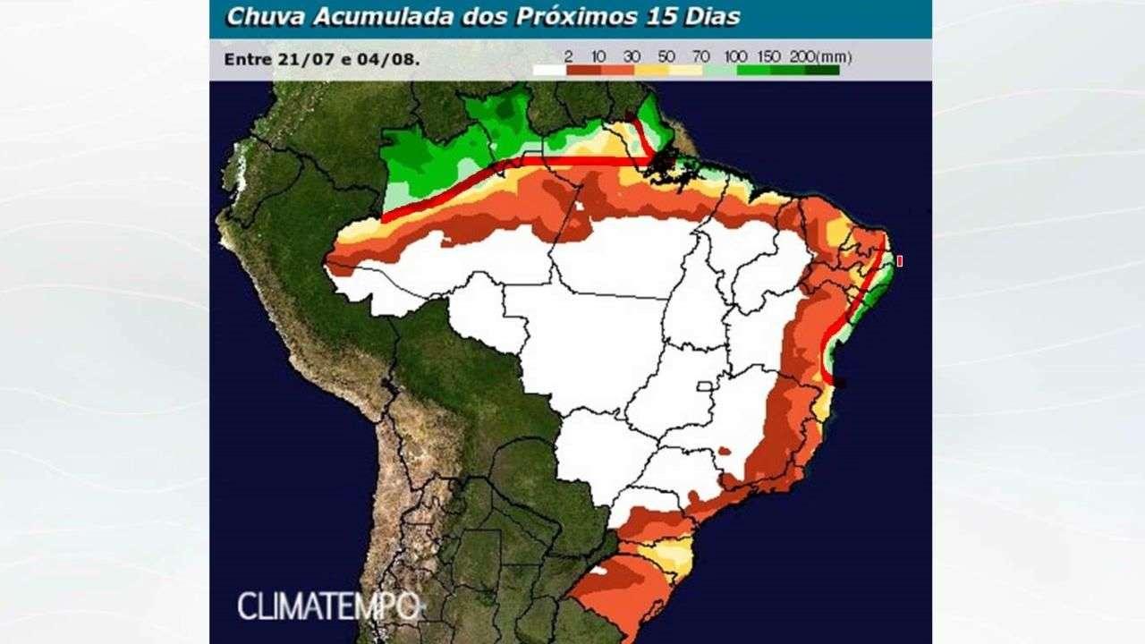 Chuva no BR em 15 dias (até 4/8/17)