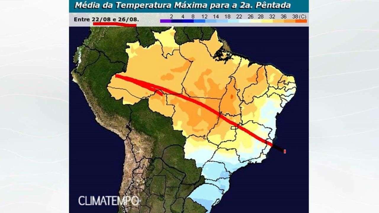 Grande frente fria chega no fim de semana  no Brasil