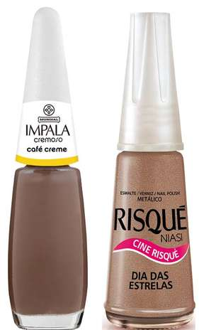 O esmalte cobre da Débora também foi um dos mais requisitados da Globo em junho. É uma mistura das cores Dia das Estrelas (Preço: R$ 2,75; Informações: 0800-111145), da Risqué, e Café Creme (Preço: 2,90; Informações: 0800-5412595), da Impala