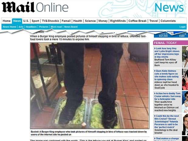 Funcionário do Burger King teria sido demitido após foto pisando em alface Foto: Reprodução/Mail Online