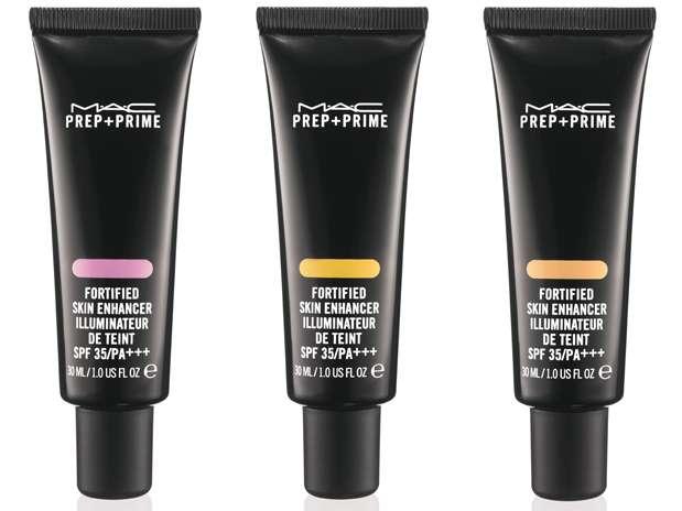Prep+Prime Fortified Skin Enhancer SPF 35, da M.A.C. Existe nas versões pêssego, lavanda, amarelo e laranja. R$ 147 cada Foto: Divulgação