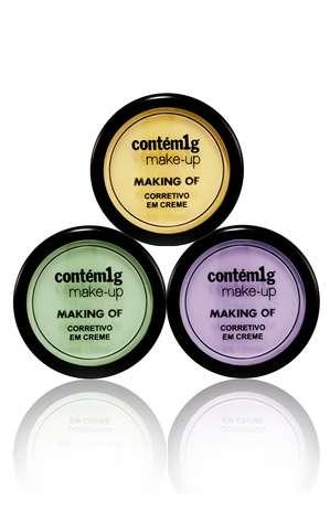 Making Of Corretivo em Creme. Existe nas verões amarelo, verde e lilás. R$ 52 cada Foto: divulgação