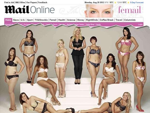 O concurso elegeu 10 mulheres para  posar com lingeries da marca Foto: Reprodução / Daily Mail