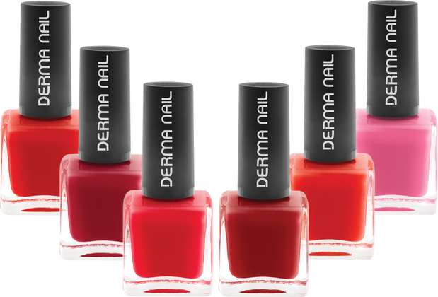 Coleção Red Tropicale: a nova linha da Dema Nail traz seis cores em tons vermelhos. Os esmaltes são livres de toxinas e podem ser consumidos até por grávidas e alérgicas Foto: Divulgação