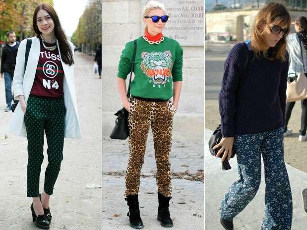 As calças estampadas são sensação entre público da Paris fashion week Foto: Daniela Fetzner / Especial para Terra