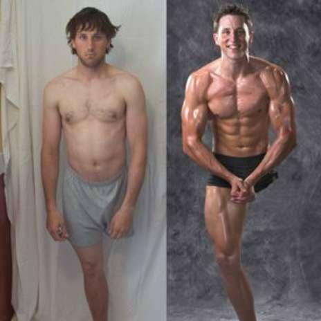 """A imagem do ex-esquiador paraolímpico de 28 anos é um dos melhores exemplos do poder do contraste das fotos de """"antes e depois"""". À esquerda, um sujeito abatido em um ambiente mal iluminado, enquanto à direita há um homem sorridente com um físico quase perfeitamente esculpido. Diagnosticado com uma forma rara de câncer ósseo aos 9 anos de idade Foto: Divulgação"""