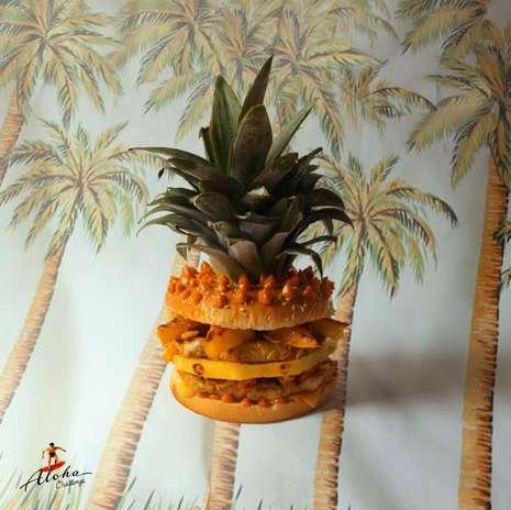 Hambúrguer Havaí: lombo de porco com abacaxi caramelizado, cheddar, legumes em conversa e molho de gengibre e pimenta Foto: Facebook / Divulgação