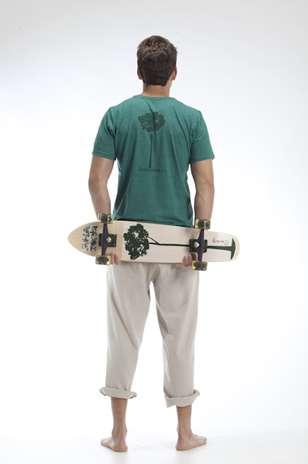 Castanheira: valorização da flora brasileira nas estampas das camisetas em malha PET Foto: Divulgação