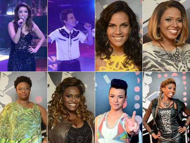Os oito cantores que estão na grande decisão do programa, que ocorre neste domingo Foto: TV Globo / Divulgação