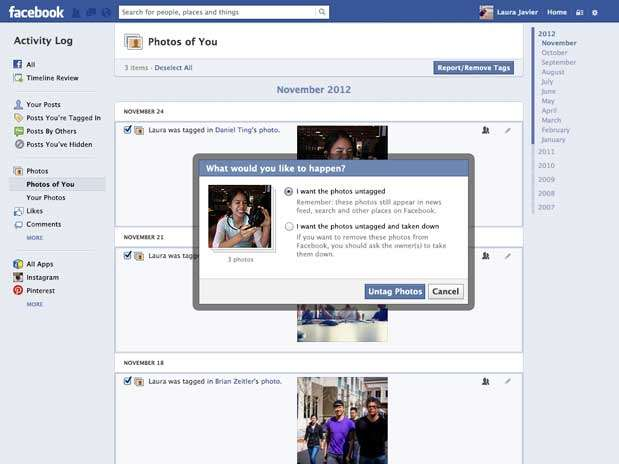 Uma das novas ferramentas de controle permite que o usuário se desmarque de fotos em massa Foto: Divulgação