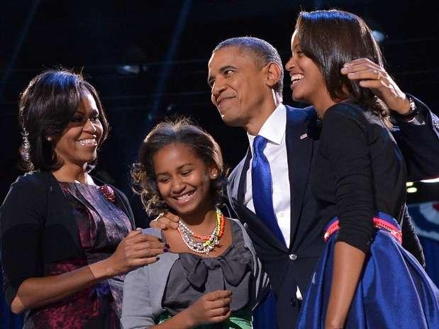 A família Obama comemora a reeleição do presidente americano, em Chicago, Illinois Foto: AFP