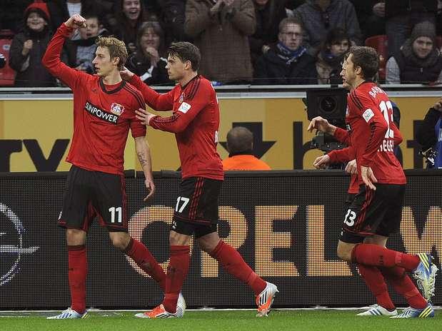 Leverkusen comemora gol feito por Kiessling Foto: EFE