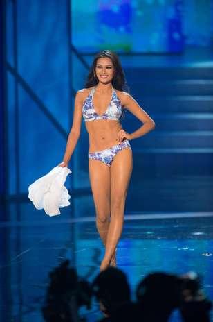 A Miss Filipinas, Janine Tugonon durante o desfile de biquíni no Miss Universo 2012, nesta quinta-feira (19) Foto: Divulgação