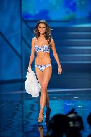 A Miss Hungria, Agnes Konkoly durante o desfile de biquíni no Miss Universo 2012, nesta quinta-feira (19) Foto: Divulgação