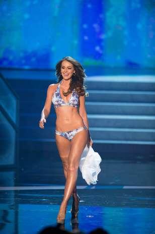 A Miss Venezuela, Irene Sofiá Esser Quintero durante o desfile de biquíni no Miss Universo 2012, nesta quinta-feira (19) Foto: Divulgação