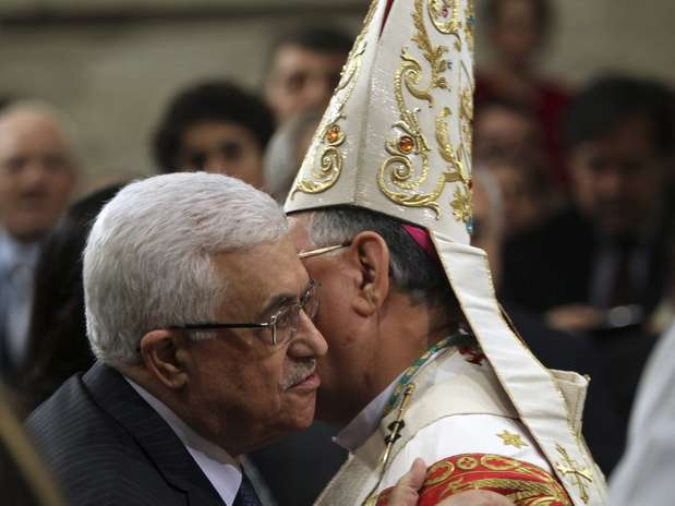 A última vez que o Fatah, do presidente palestino Mahmud Abbas (E), celebrou o aniversário em Gaza aconteceu em 2007  Foto: EFE