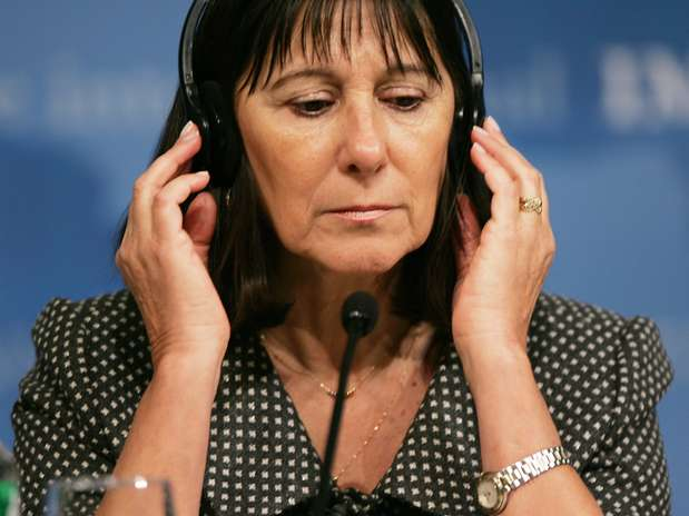 Felisa Miceli durante conferência do Banco Mundial em Washington em 2007, quando era ministra no governo de Néstor Kirchner Foto: AFP
