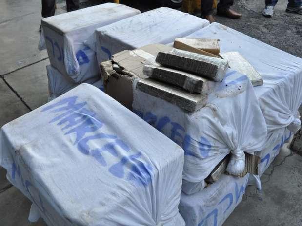 Droga estava prensada e distribuída em dez pacotes Foto: Polícia Federal / Divulgação