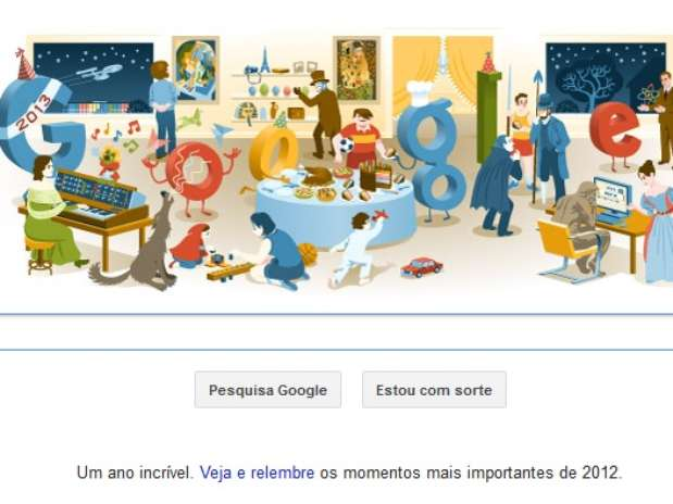 Véspera de Ano Novo 2012 foi celebrada pelo Google em doodle especial Foto: Reprodução