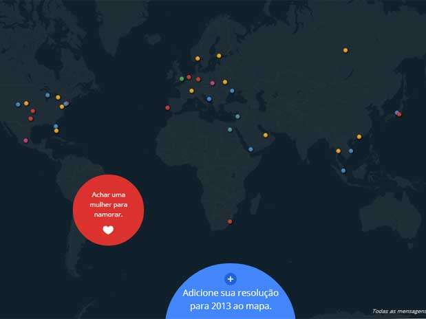 Mapa mostra as resoluções de Ano-Novo de usuários do Google ao redor do mundo Foto: Reprodução