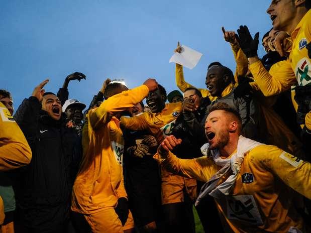 Jogadores do Epinal vibram com vaga surpreendente diante do Lyon  Foto: AFP