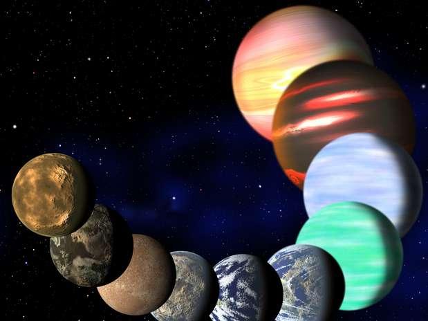 Imagem artística mostra diferentes tipos de planetas na Via Láctea detectados pelo Kepler  Foto: AP