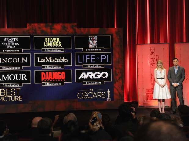 Emma Stone e Seth Macfarlane apresentaram indicados ao Oscar nesta quinta-feira Foto: Getty Images