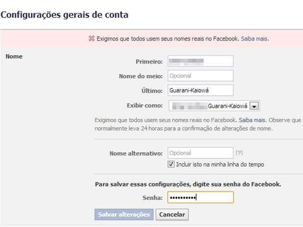 A rede social passou a bloquear tentativa de incluir a etnia entre os nomes do usuário Foto: Reprodução