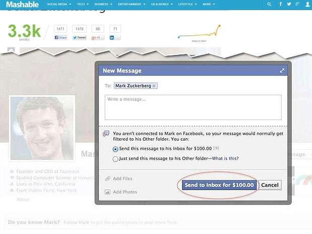 Ferramenta em teste permite pagar para que mensagem seja enviada para a caixa de entrada do executivo Foto: Mashable / Reprodução