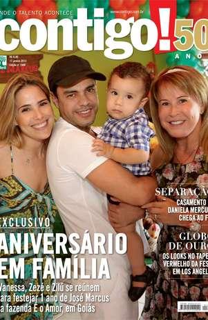 Zezé di Camargo posou ao lado da filha, Wanessa, e de sua ex-mulher, Zilu Foto: Contigo! / Divulgação