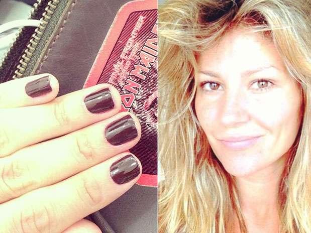 Ellen Jabour apostou em um esmalte escuro para as unhas da mão  Foto: Instagram / Divulgação