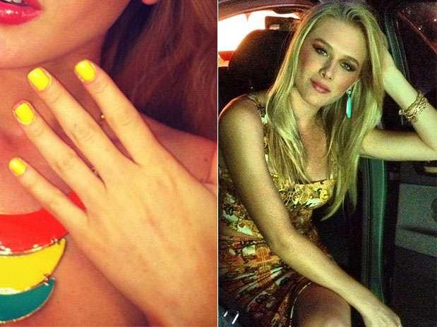 Ousada, Fiorella Mattheis apostou em um esmalte amarelo  Foto: Instagram / Divulgação