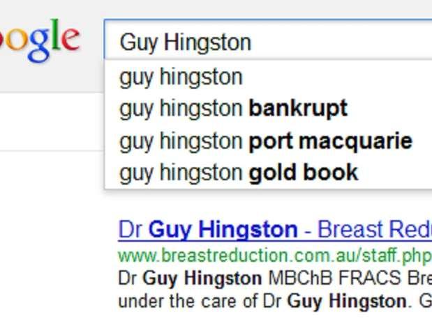 Pesquisa do Google sugere 'falido' como complemento do nome do cirurgião australiano Foto: Google.com.au / Reprodução