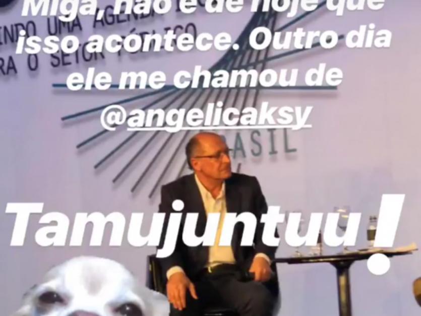 Angélica entrou na brincadeira e fez piada com a gafe no Stories: 'Miga Eliana, Alckmin te mandou um beijo' Foto: Instagram / PurePeople